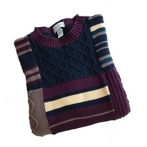 Vintage Izod Men's Color Block Cable Knit Sweater